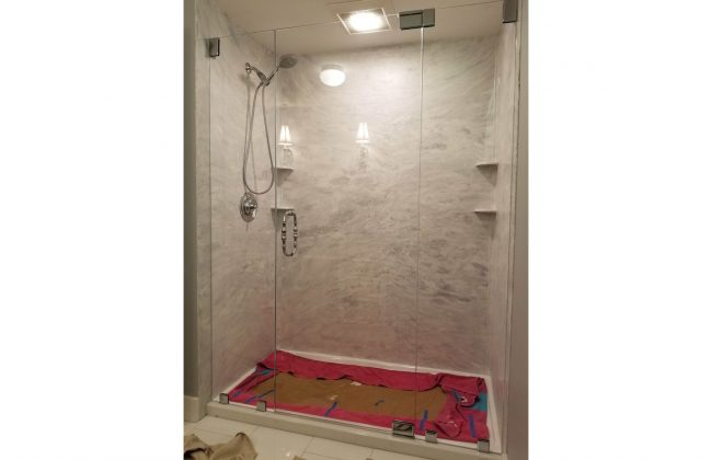 Frameless Shower Enclosure for Bourne Master Bath