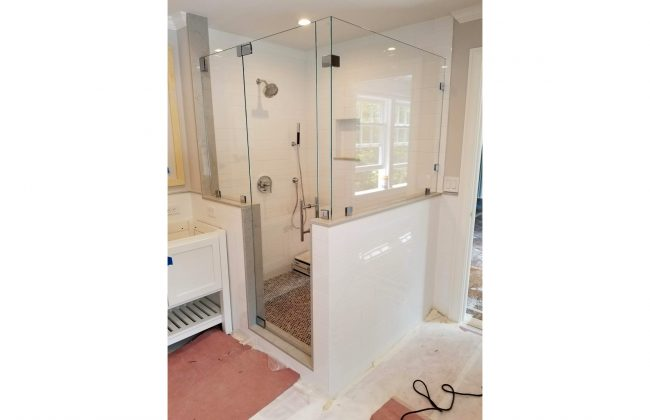 frameless walk-in shower enclosure in Milton