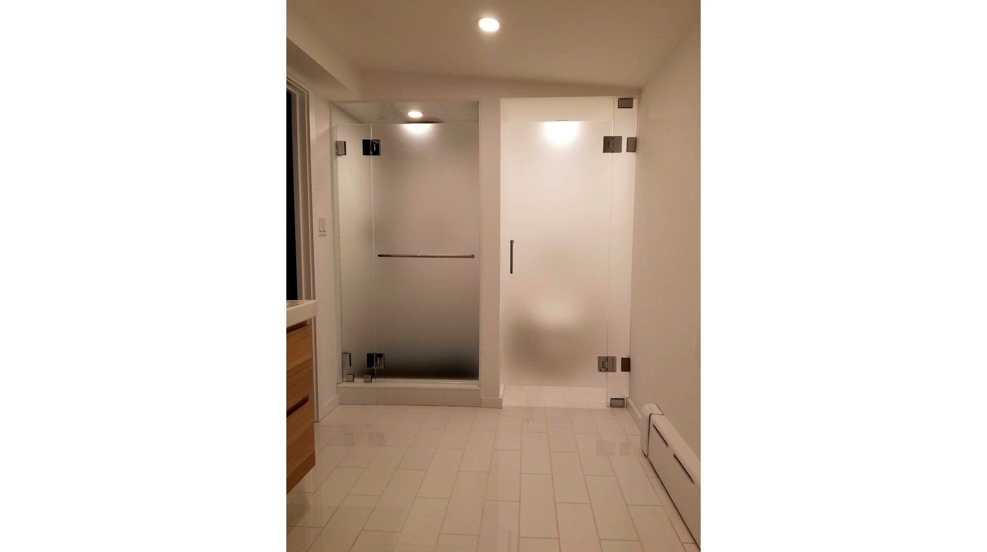 frameless shower door and water closet door in Westwood
