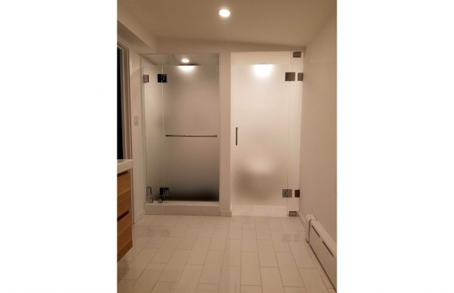 frameless shower door and water closet door in Westwood