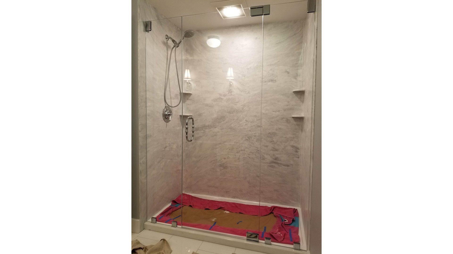 Frameless Shower Enclosure for Bourne Master Bath